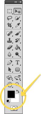 Местоположение инструмента Индикатор фонового и основного цвета в фотошопе