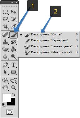 Местоположение инструмента Кисть на панели инструментов в фотошопе