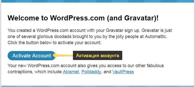 Активация аккаунта Gravatar