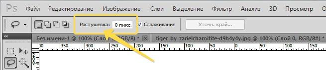 Растушевка на панели параметров инструмента