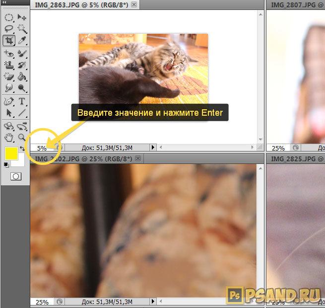 Как изменить масштаб вкладки фотошопа