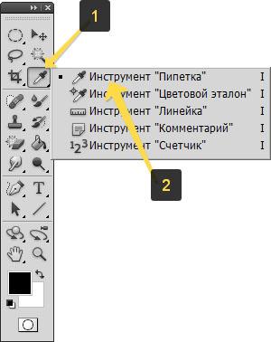 Местоположение инструмента пипетка на панели инструментов фотошопа