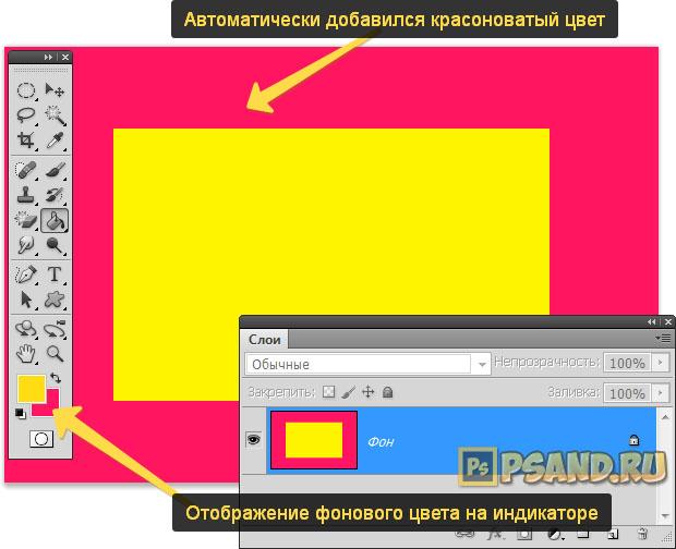 Заливка холста фоновым цветом после его увеличения