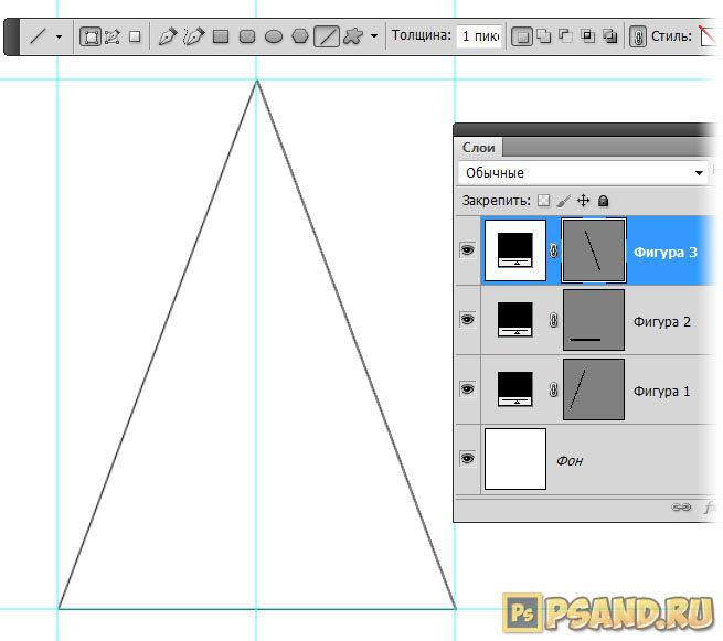 Векторный равнобедренный треугольник