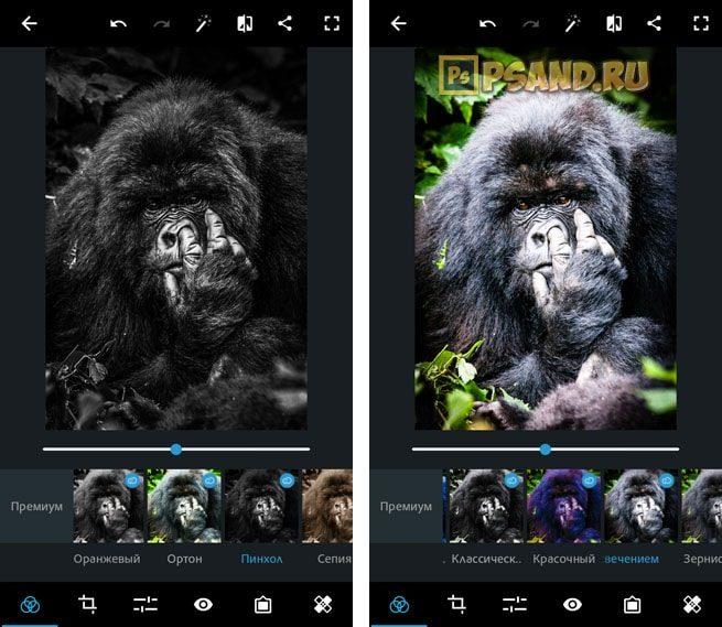 Фильтры Пинхол и Виньетка со свечением Photoshop Express