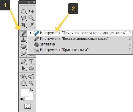 Местоположение инструмента Точечная восстанавливающая кисть в фотошопе