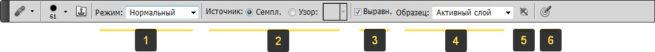 Панель параметров Восстанавливающей кисти в фотошопе