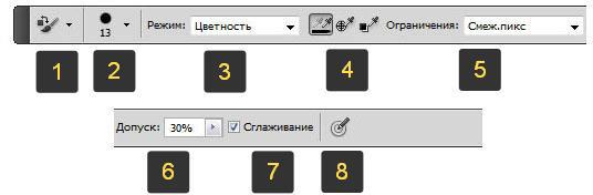 Инструмент Замена цвета - панель параметров